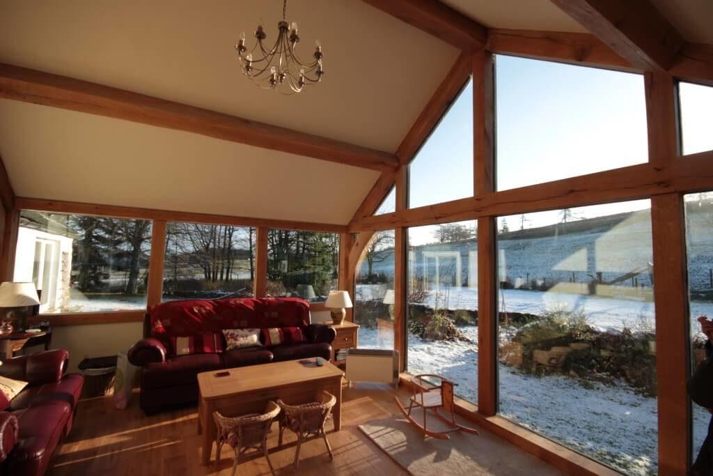 Oak Framed Extension during winter